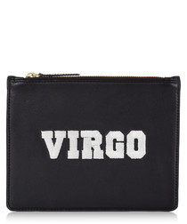 Virgo black & white leather clutch