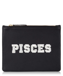 Pisces black & white leather clutch