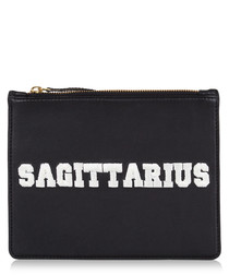 Sagittarius black & white leather clutch