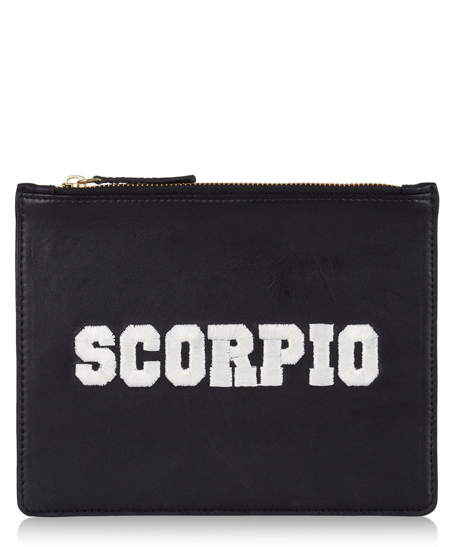 Scorpio black & white leather clutch Sale - Uzma Bozai
