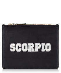 Scorpio black & white leather clutch