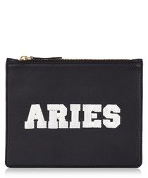 Aries black & white leather clutch