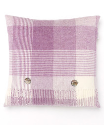 Lilac pure lambswool check cushion
