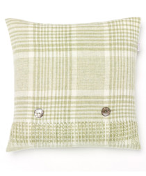 Prince of Wales green lambswool cushion