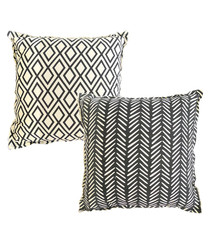 2pc black & white cotton cushions