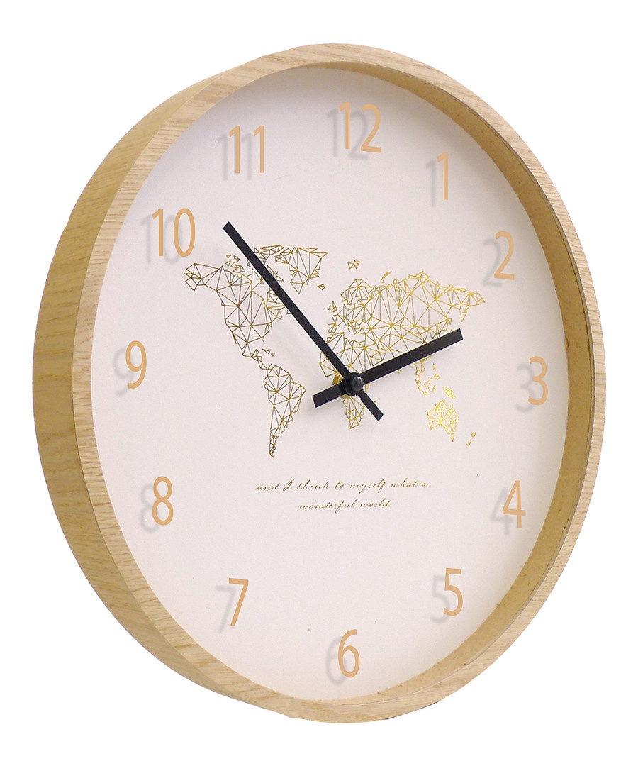 Natural wood world map wall clock Sale - Maiko