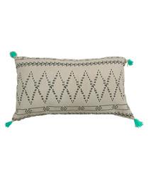 Mint cotton blend pompom cushion