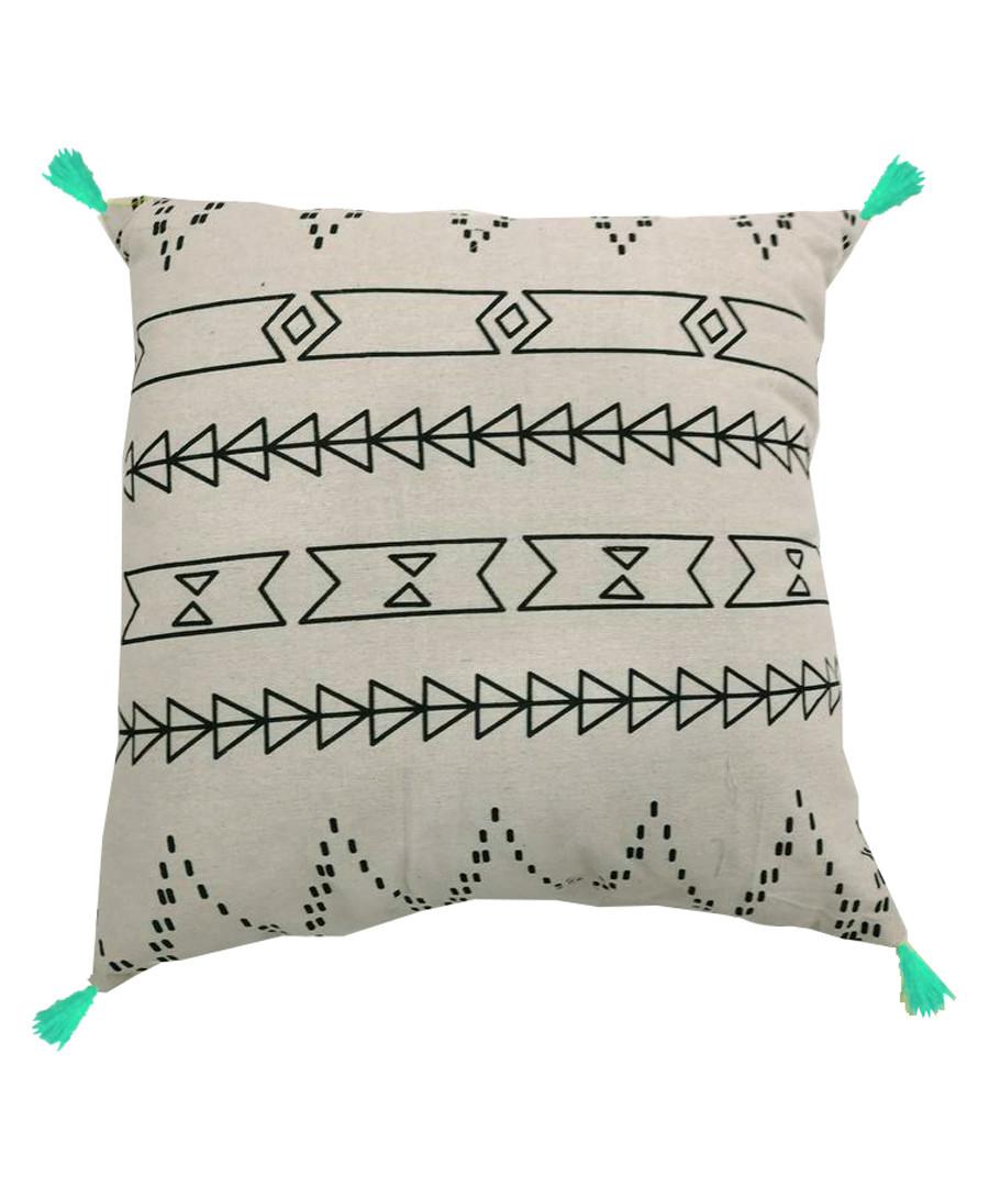Mint cotton blend pompom cushion Sale - Maiko