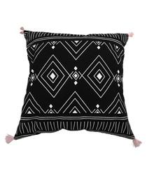 Black cotton blend pompom cushion
