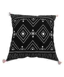 Black cotton blend pompom cushion