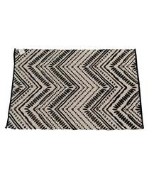 Black cotton blend geometric rug