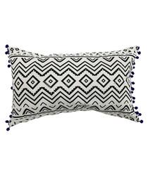 White cotton blend pompom cushion
