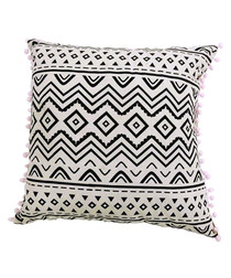 White cotton blend pompom cushion