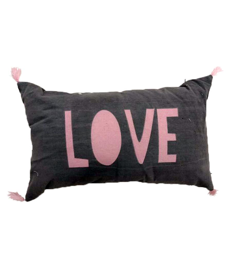 Love charcoal cotton blend cushion Sale - Maiko