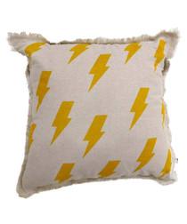Lightning yellow cotton blend cushion