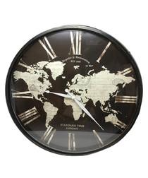 Black world map clock