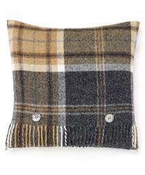 Aysgarth charcoal check cushion