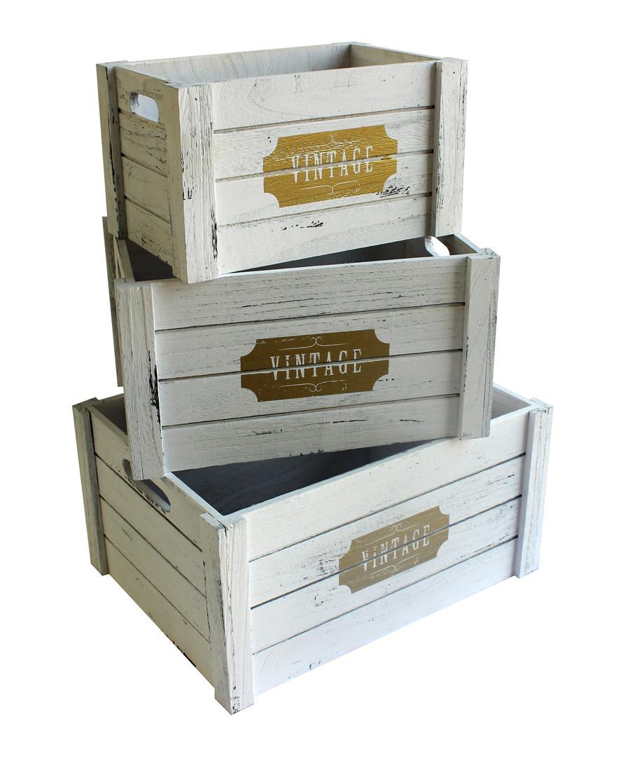 3pc white wood boxes Sale - Maiko