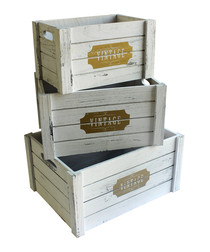 3pc white wood boxes