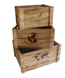 3pc natural wood boxes