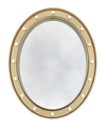 Gold-tone LED round wall mirror