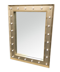Gold-tone LED wall mirror