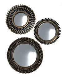 3pc gold-tone round mirrors