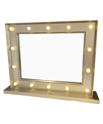Gold-tone LED mirror