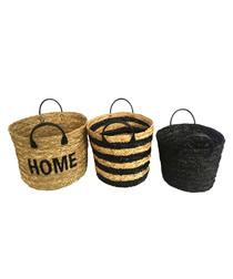 3pc natural straw baskets