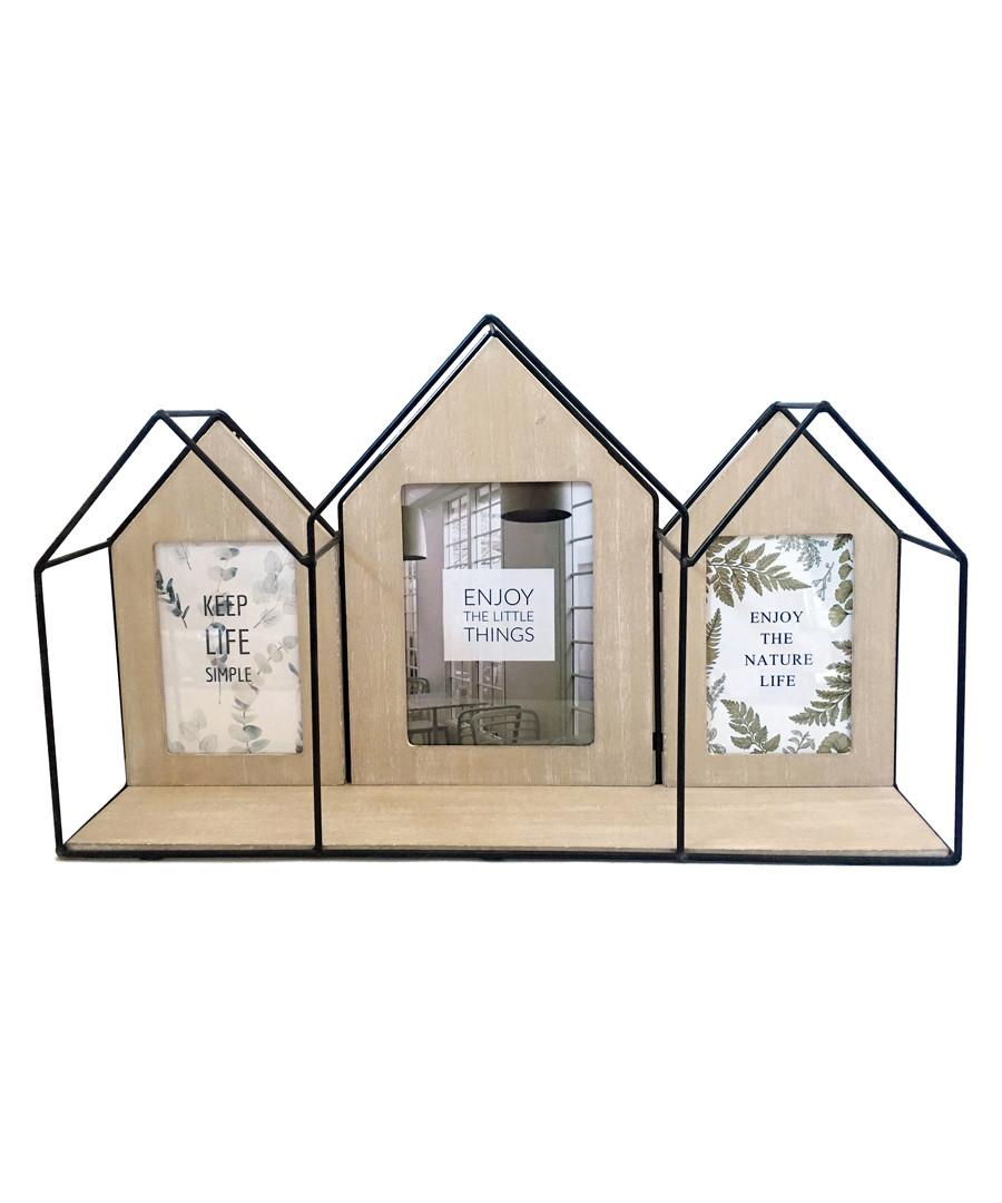 Black wood house photo frame shelf Sale - Maiko