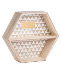 Natural wood hexagon shelf