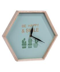 Natural wood hexagon clock
