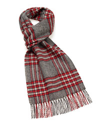 Dales red & grey lambswool scarf