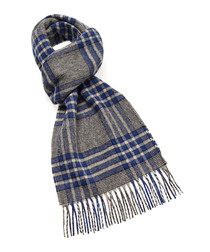 Dales royal blue & grey lambswool scarf