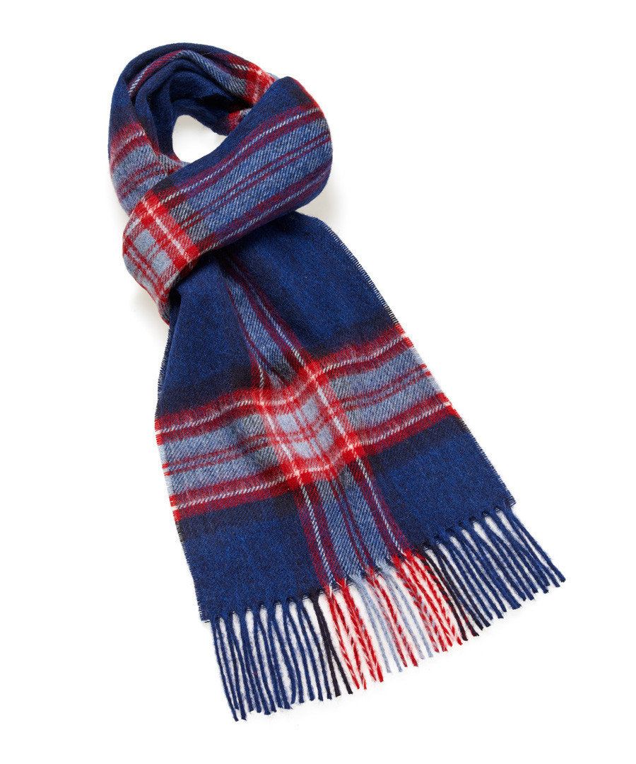 Dales royal blue & red lambswool scarf Sale - bronte