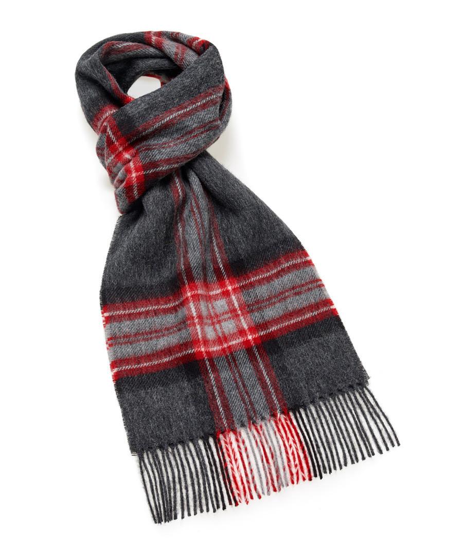 Dales grey & wine lambswool scarf Sale - bronte