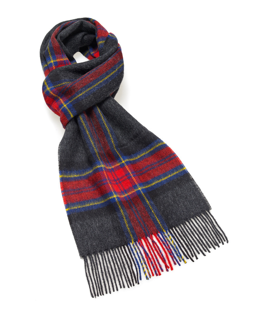 Dales charcoal & red lambswool scarf Sale - bronte