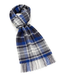 Dales royal blue & grey lambswool scarf