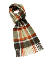 Dales olive & rust lambswool scarf