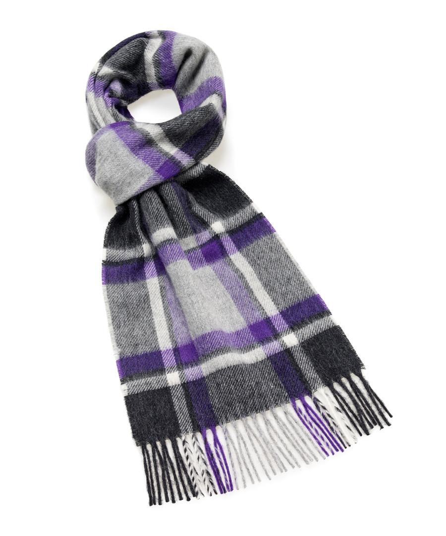 Dales grey & purple lambswool scarf Sale - bronte
