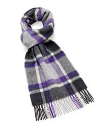 Dales grey & purple lambswool scarf