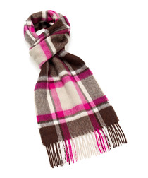 Dales cerise check lambswool scarf