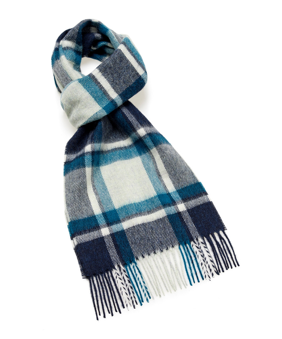 Dales teal check lambswool scarf Sale - bronte