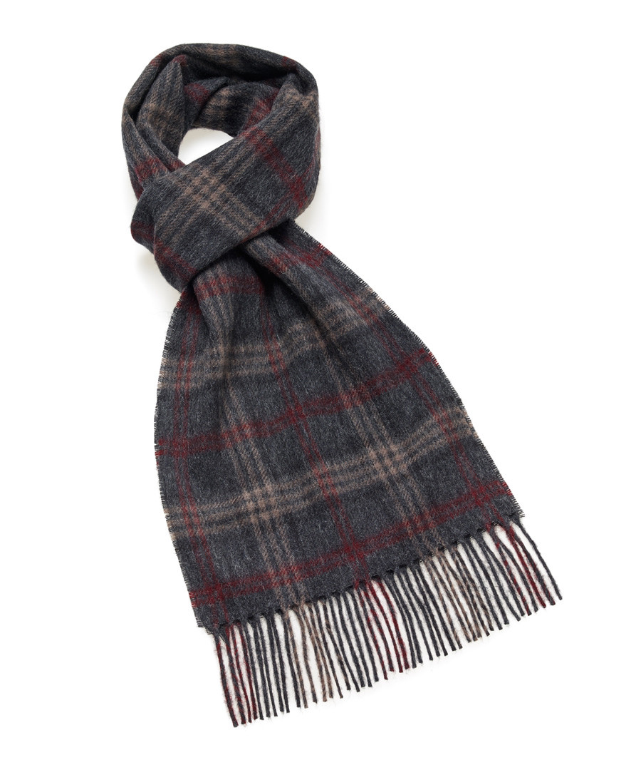 Dales wine & grey check lambswool scarf Sale - bronte