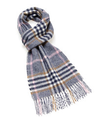 Dales navy & multi lambswool scarf