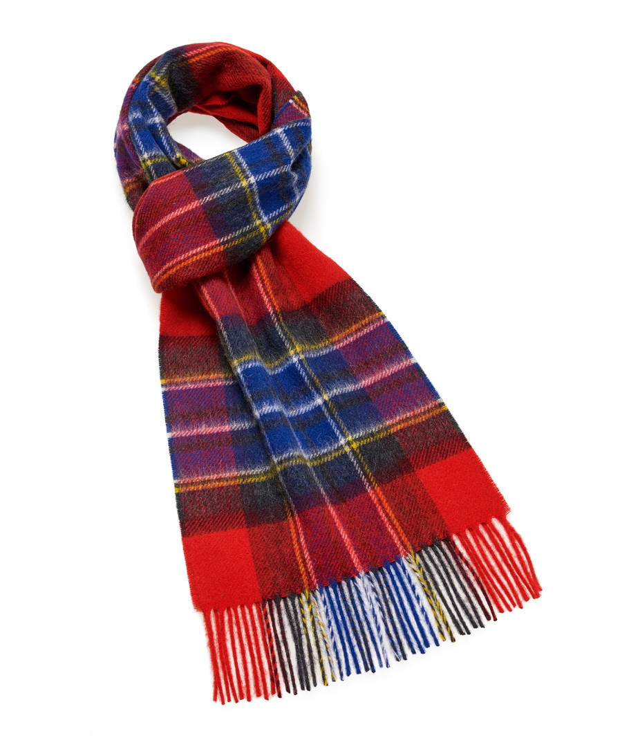 Dales red check lambswool scarf Sale - bronte