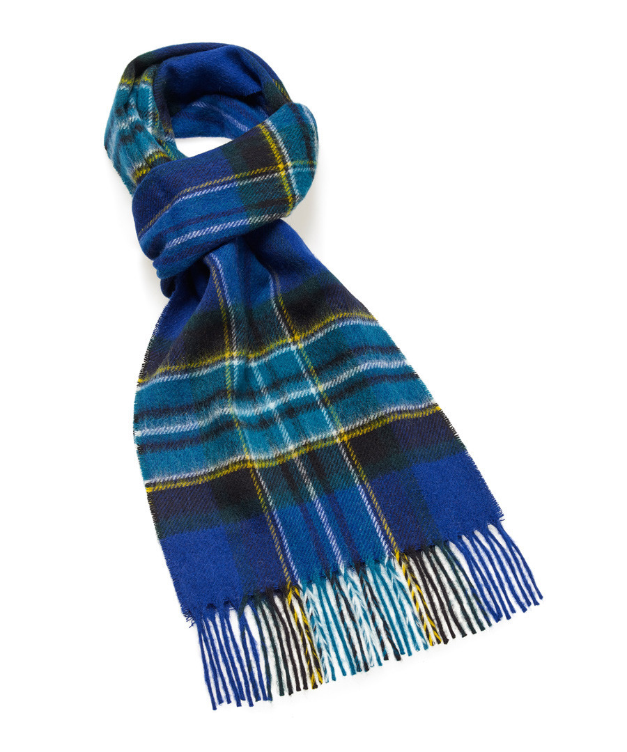 Dales royal blue check lambswool scarf Sale - bronte