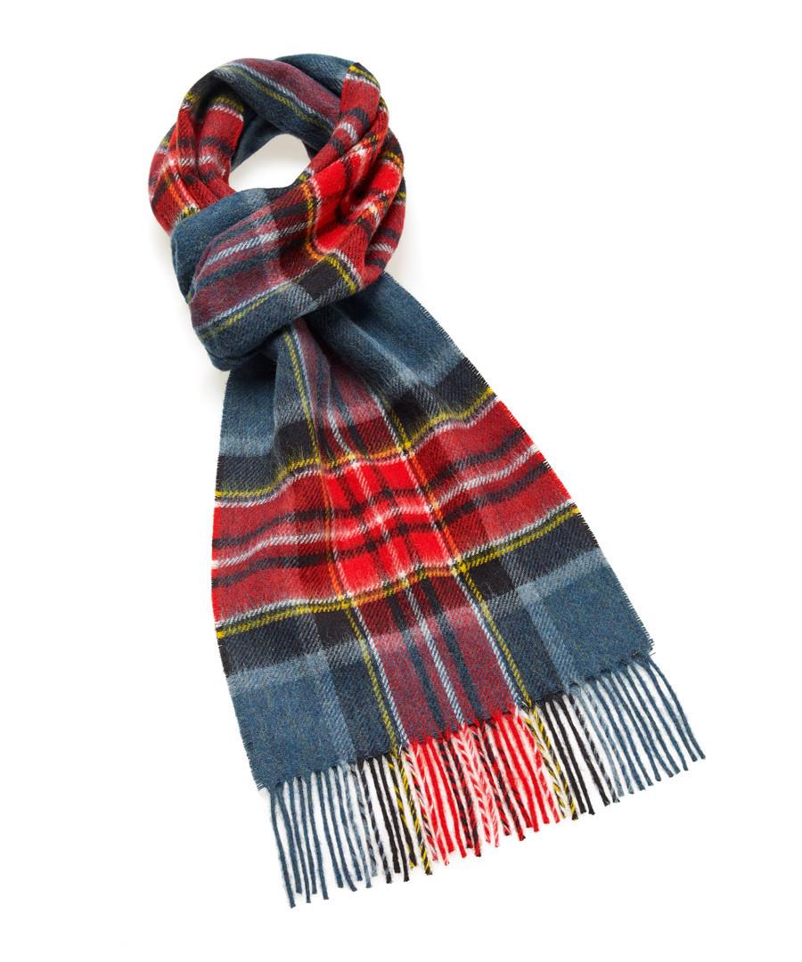 Dales teal & multi check lambswool scarf Sale - bronte