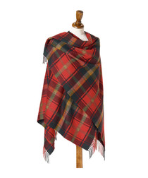 Red tartan & dark maple lambswool ruana