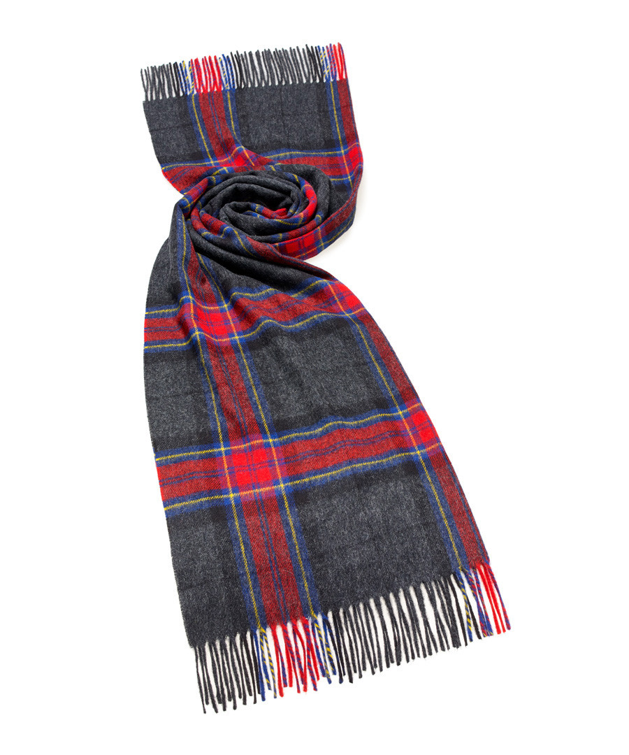 Middleham charcoal & red lambswool scarf Sale - bronte